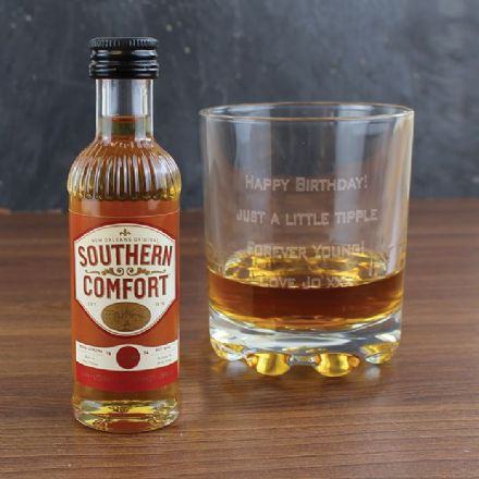 Personalised Whisky Glass & Miniature Southern Comfort Gift Set